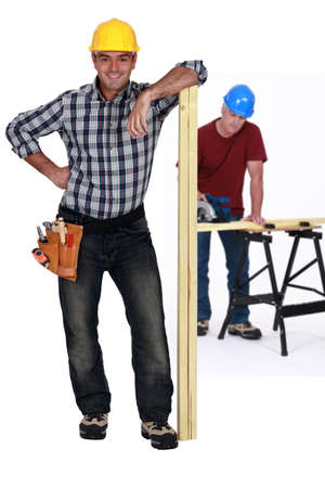 hard stuff: Two carpenters Stock Photo