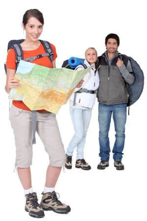 Three backpackers photo