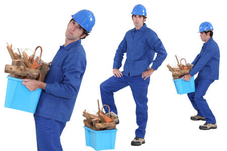construction worker carrying recyclable material Stock Photo - 18294327