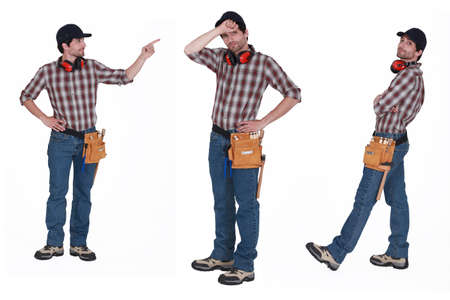 ear muffs: Handyman with ear muffs Stock Photo