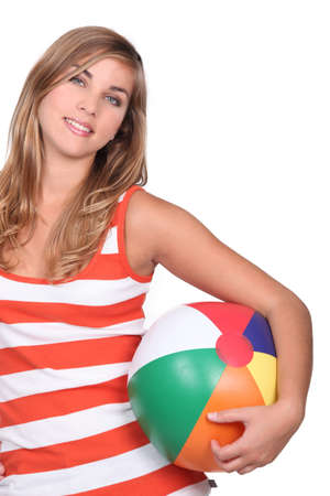 beach ball girl: Teen with beach ball Stock Photo