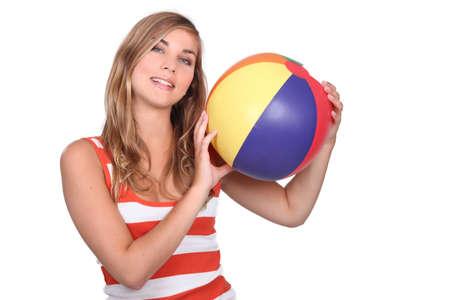 beach ball girl: You wanna play? Stock Photo