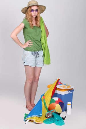 beach wear: Teenage girl looking unhappy Stock Photo