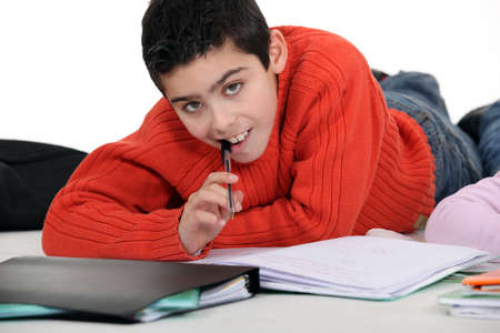 classwork: Boy doing his homework