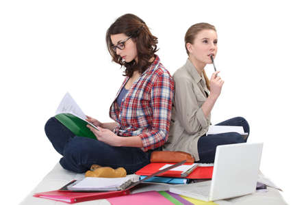 jointly: female students cramming for exam