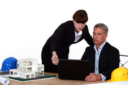 technical department: architect and assistant Stock Photo