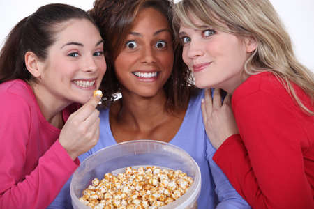 peppy: Peppy women eating popcorn