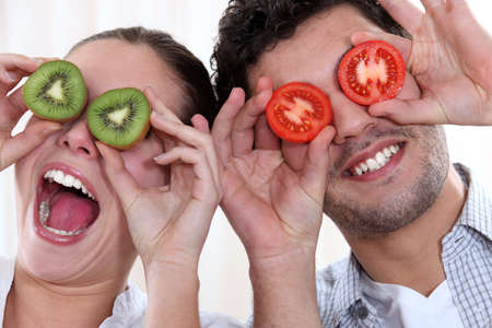 eyes wide: Couple making funny faces Stock Photo