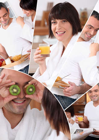mosaic of pictures of a couple having breakfast photo