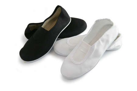plimsoll: Black and white plimsoles Stock Photo