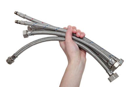Handful of metal pipes photo