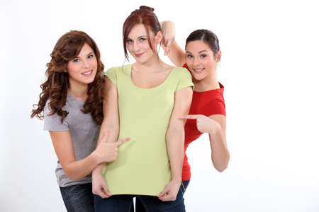 three persons: Three funny female friends Stock Photo
