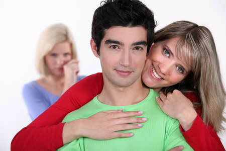 Woman jealous of couple photo