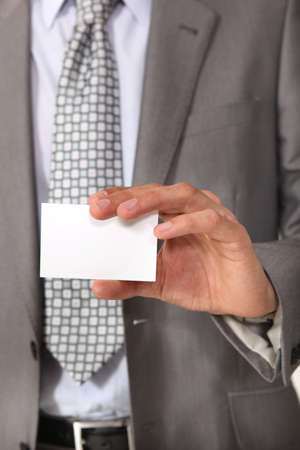 businesscard: Executive with a blank businesscard