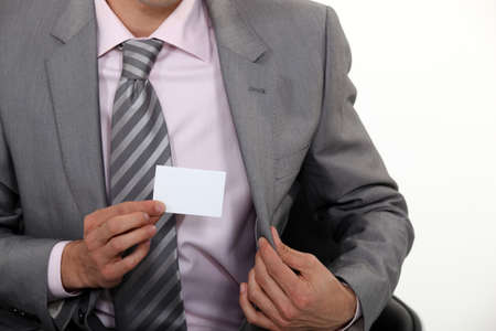 businessman showing business card Stock Photo - 18740807