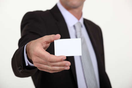 personalised: Man holding a blank business card