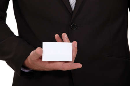 personalised: Man holding a business card