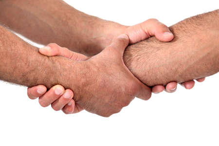 clasping: Double clasped handshake