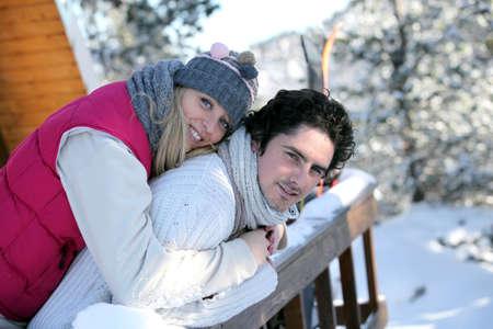 chearful: happy couple at ski resort Stock Photo