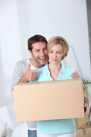 moving house: Couple moving house Stock Photo
