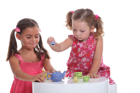 party room: Little girl tea party Stock Photo