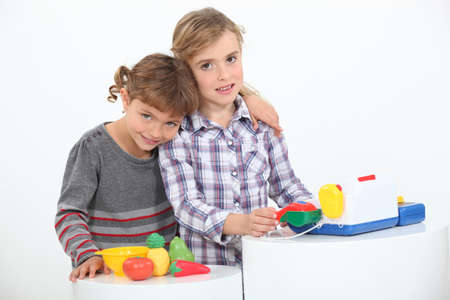 Children playing shop photo