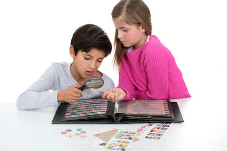stamp collecting: Children stamp collecting