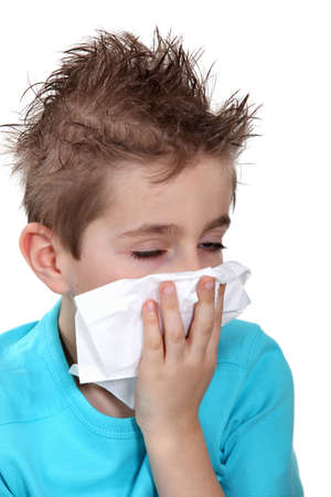 allergic reaction: Boy with a cold