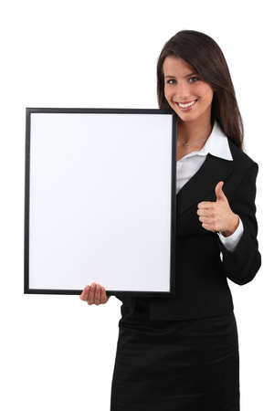 Brunette woman with frame Stock Photo - 18815311