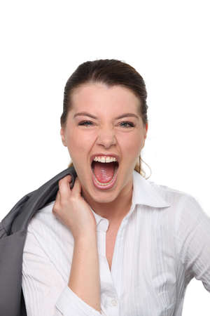 woman screaming: Screaming woman in suit Stock Photo