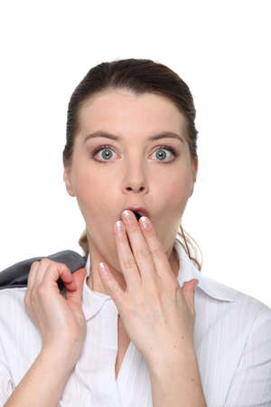 Closeup shocked woman in suit Stock Photo - 18816083