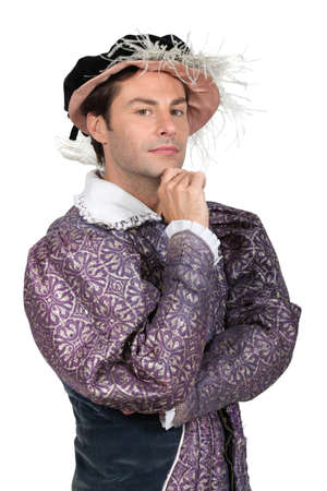 period costume: Man in Tudor Fancy Dress Costume