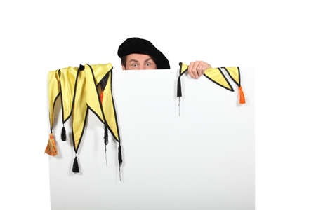 Character behind white panel Stock Photo - 18815134