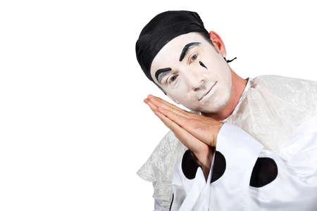 Hombre con traje de Pierrot sobre fondo blanco Foto de archivo - 18815781
