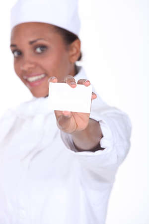 caterer: Woman caterer showing business card