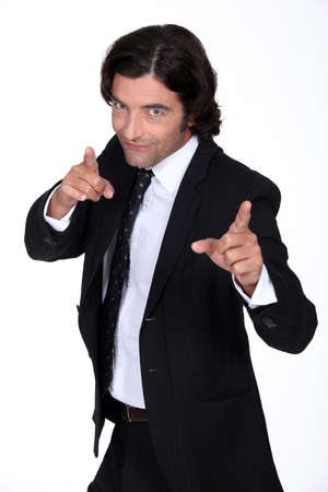 baron: Businessman pointing Stock Photo