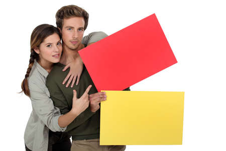 settling: young couple hugging