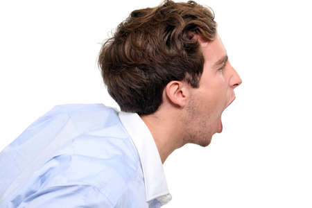 Profile of a shouting man Stock Photo - 18948310