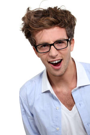 Geeky looking man with glasses photo