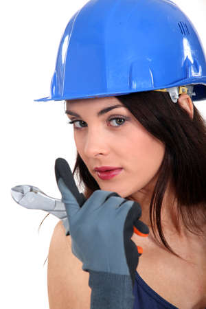 beckon: Female electrician