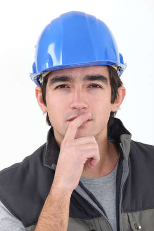 envisage: Thinking builder Stock Photo