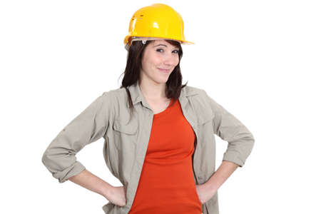 workwoman: portrait of cheerful craftswoman Stock Photo