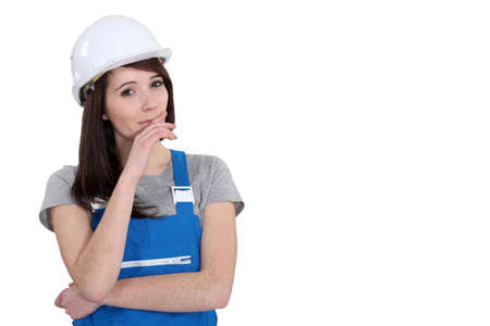 imperturbable: Female manual worker Stock Photo