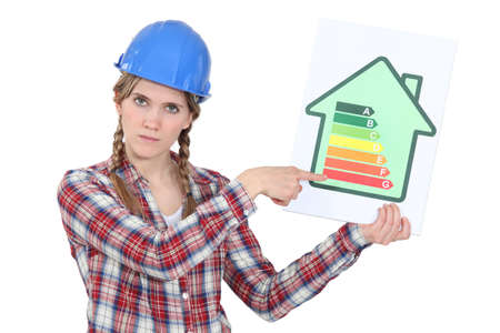 classifying: Laborer with energy efficiency chart Stock Photo