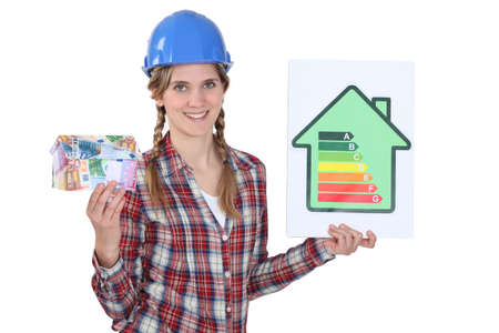 Laborer with energy efficiency chart photo