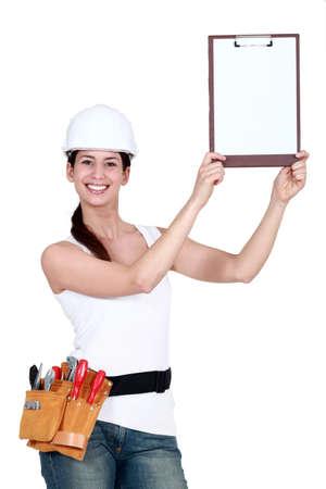 broad: Attractive tradeswoman Stock Photo