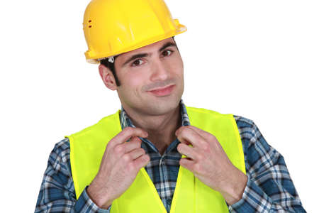 Workman in a reflective vest photo
