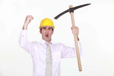 pickaxe: Animated architect holding pickaxe
