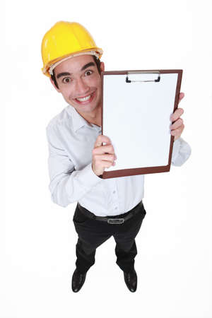 hilarious: hilarious craftsman holding clipboard Stock Photo