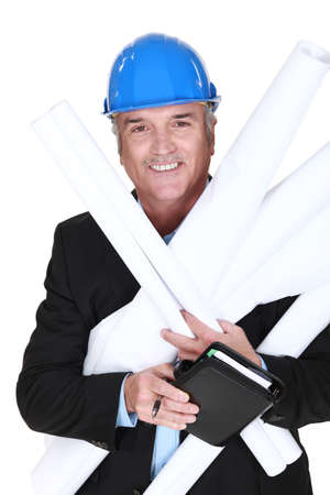 mirth: Engineer holding building plans and his agenda